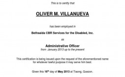 006 Rare Certificate Of Employment Template Highest Quality  Nz Sample Word Format Free