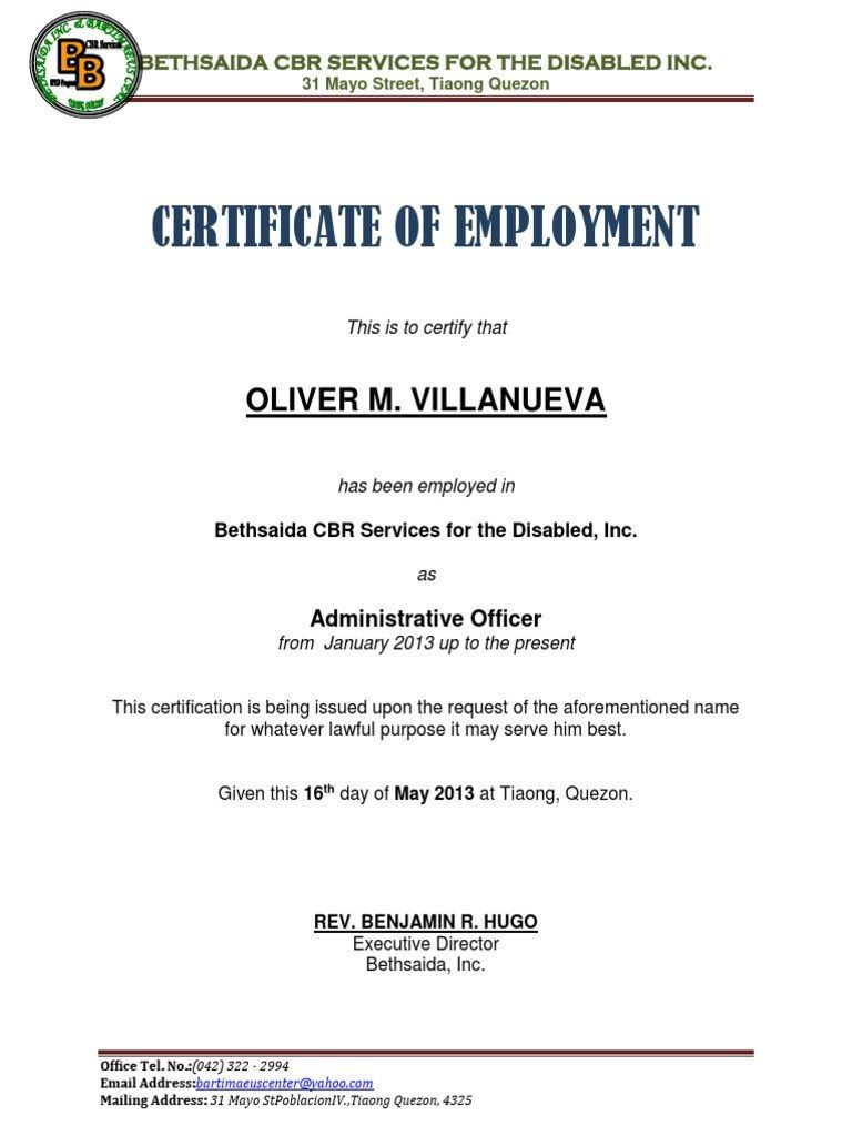 006 Rare Certificate Of Employment Template Highest Quality  Nz Sample Word Format FreeFull