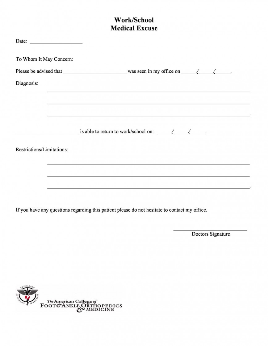 006 Rare Doctor Note For School Template Image  Absence Doctor' Sample Example