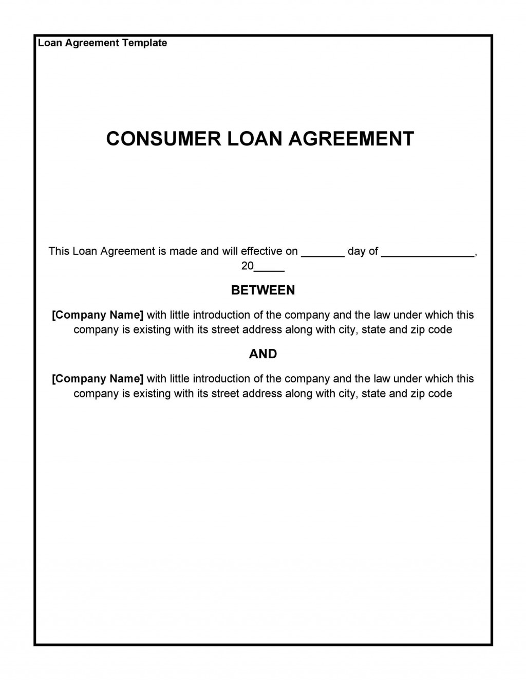 006 Rare Family Loan Agreement Template Canada Sample Large