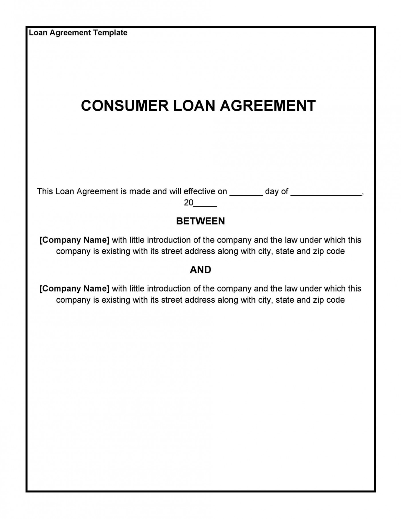 006 Rare Family Loan Agreement Template Canada Sample 1400