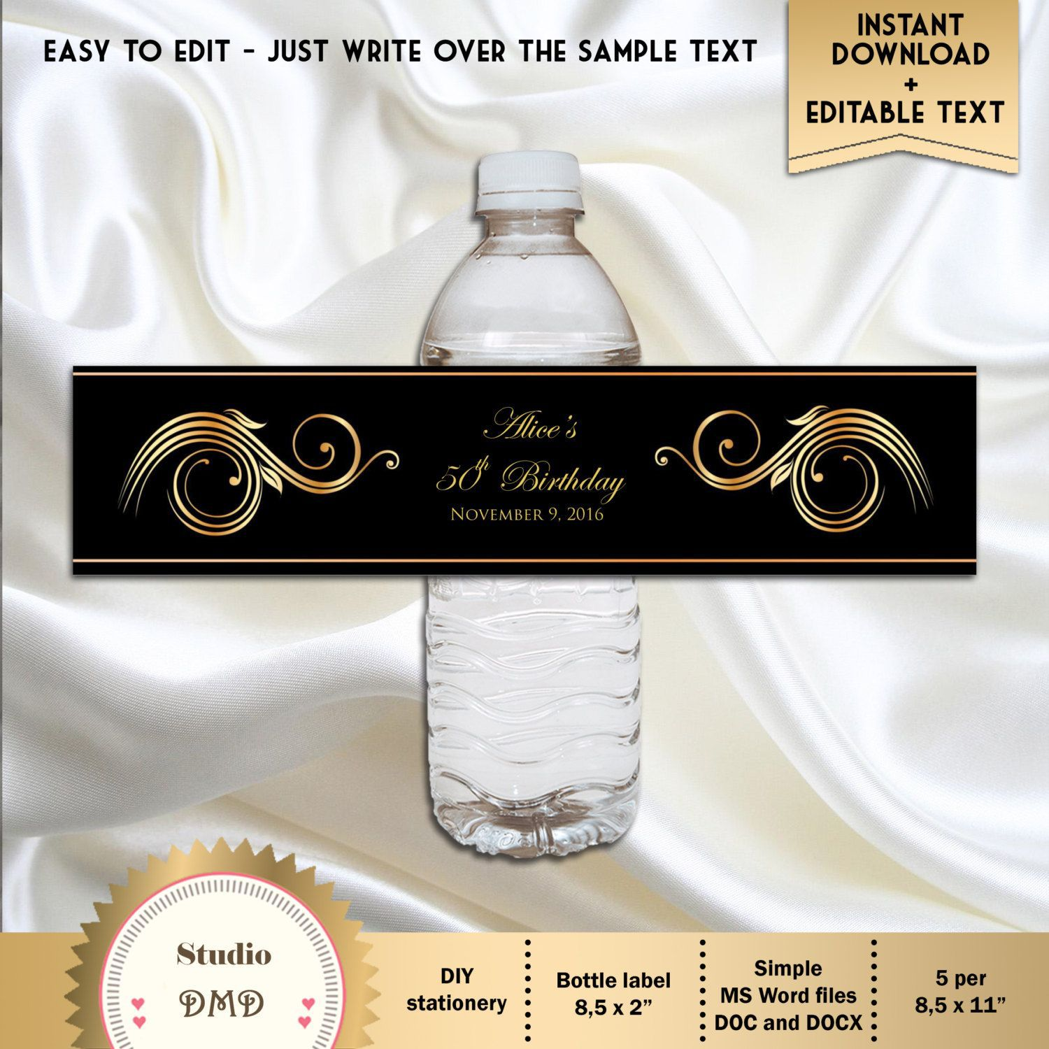 006 Rare Free Wedding Template For Word Water Bottle Label Design  LabelsFull