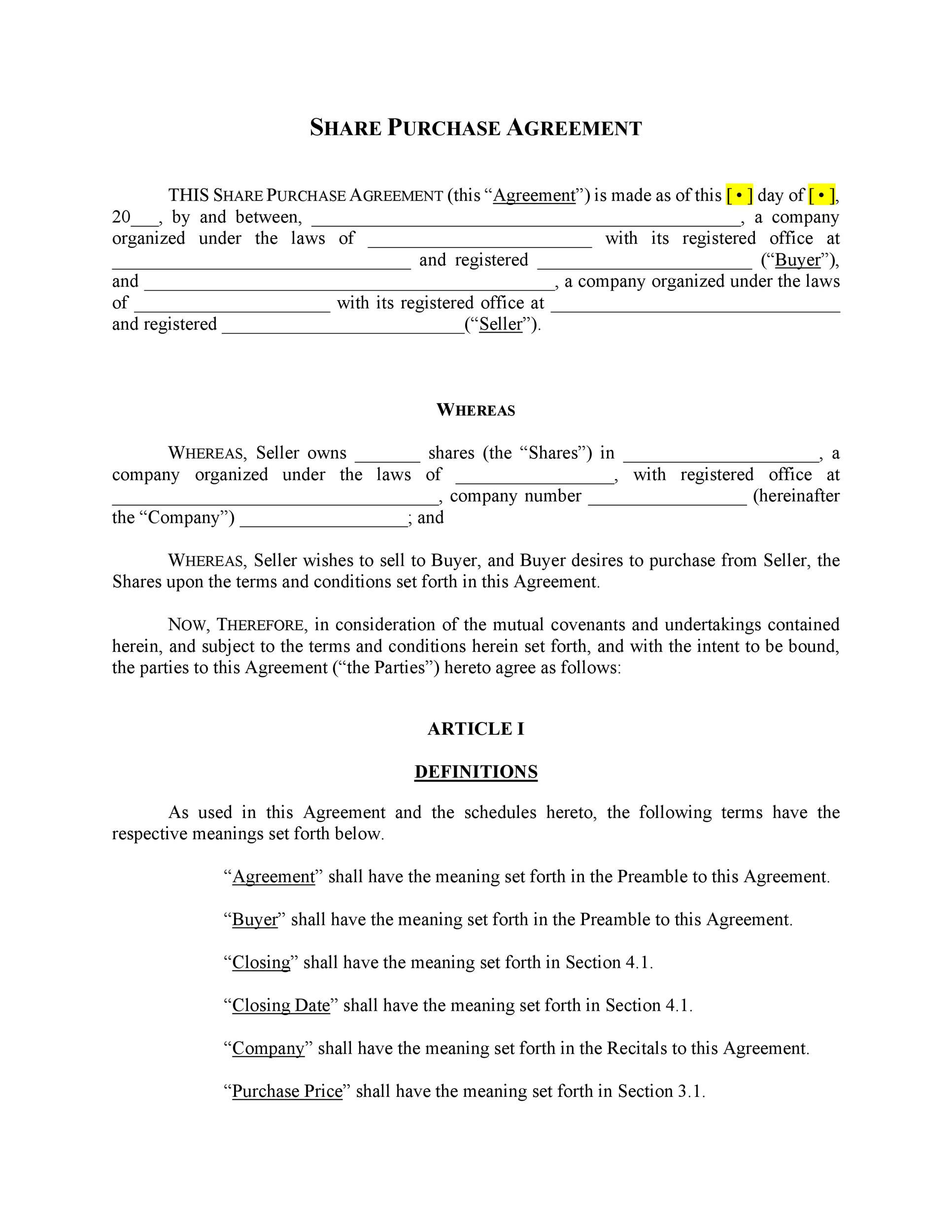 Share Purchase Agreement Template from www.addictionary.org