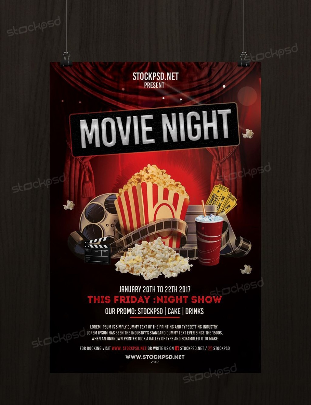 006 Rare Movie Night Flyer Template Inspiration  Editable Psd FreeLarge