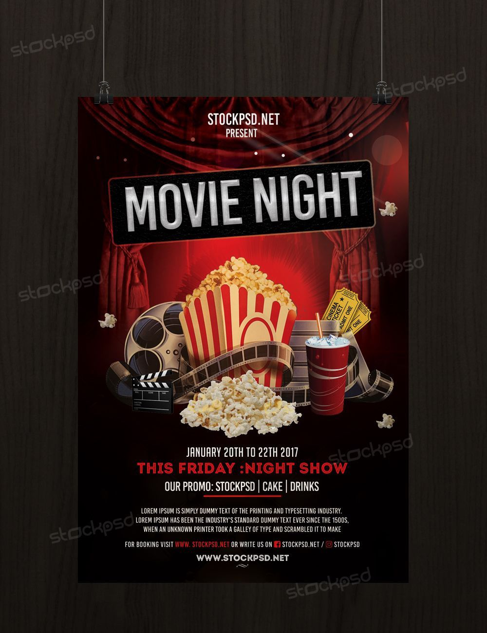 006 Rare Movie Night Flyer Template Inspiration  Editable Psd FreeFull