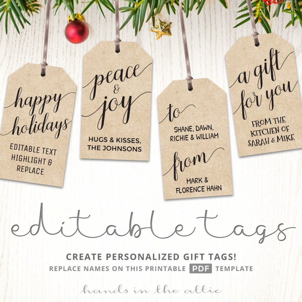 006 Rare Printable Christma Gift Tag Template High Definition  Templates Free Holiday For WordLarge