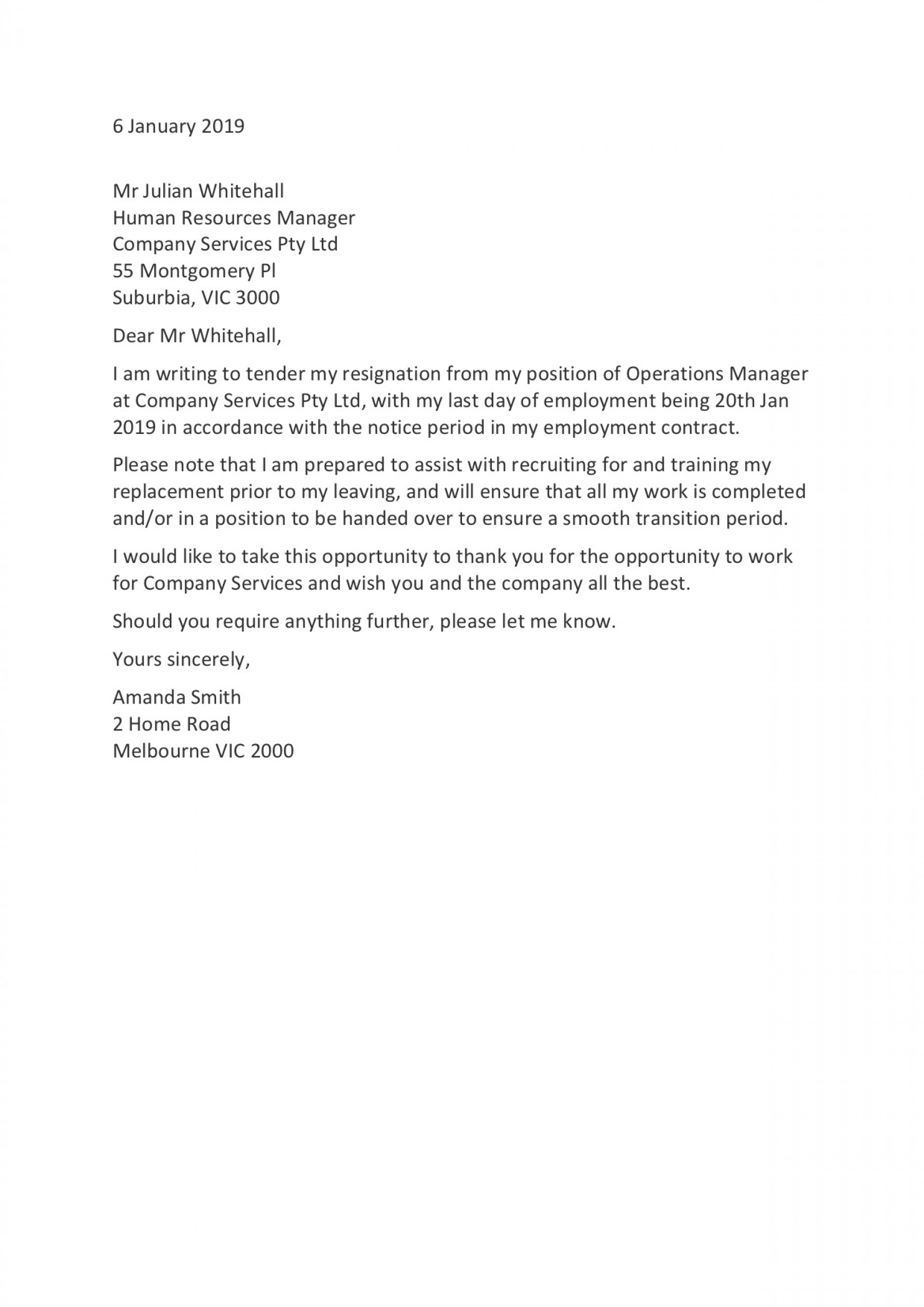 006 Rare Professional Resignation Letter Template Concept  Best Format Pdf How To Write A1920