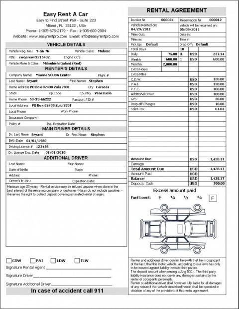 006 Rare Template Car Rental Form Picture  Free Agreement Checklist Inspection480