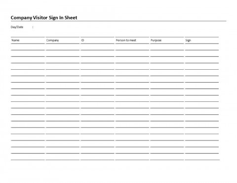 006 Rare Visitor Sign In Sheet Template High Resolution  Busines Pdf480