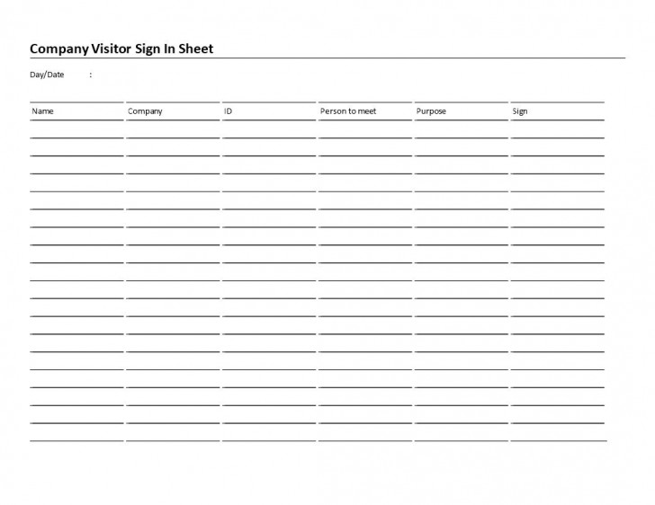 006 Rare Visitor Sign In Sheet Template High Resolution  Busines Pdf728