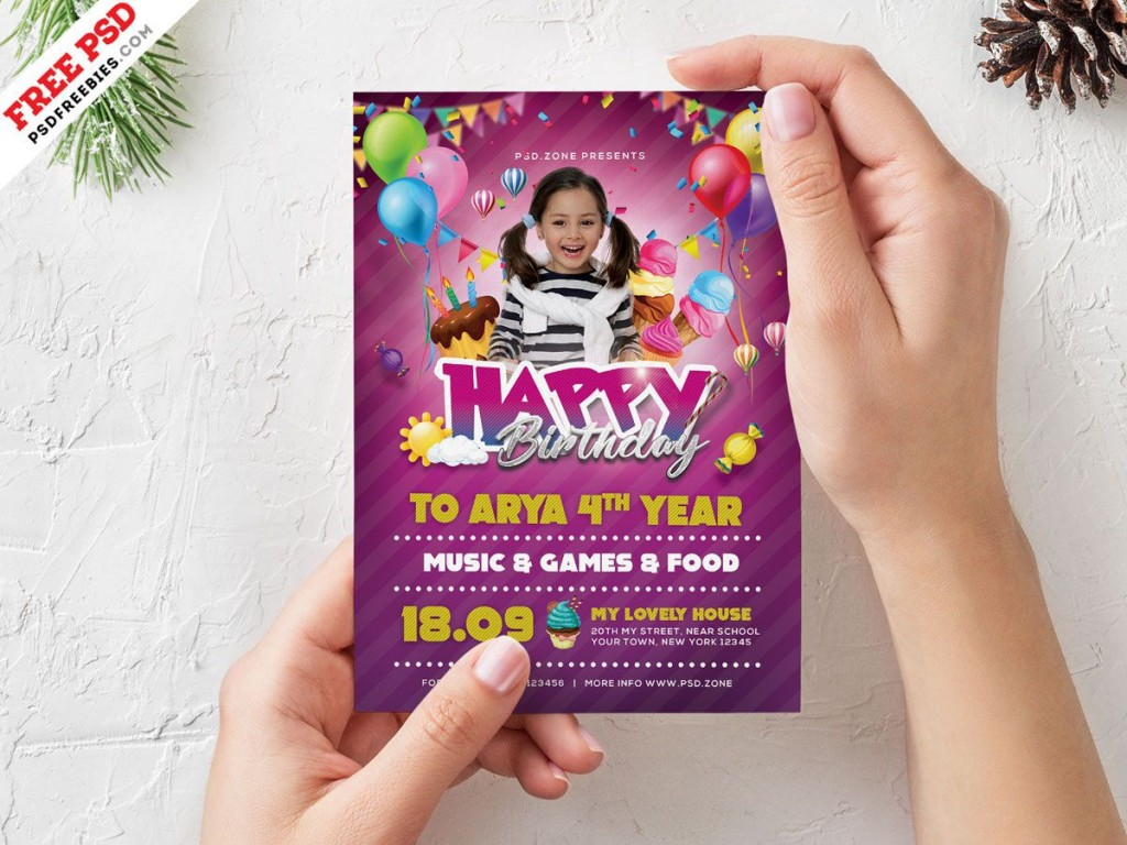 006 Remarkable Birthday Party Invitation Flyer Template Free Download High Def Large