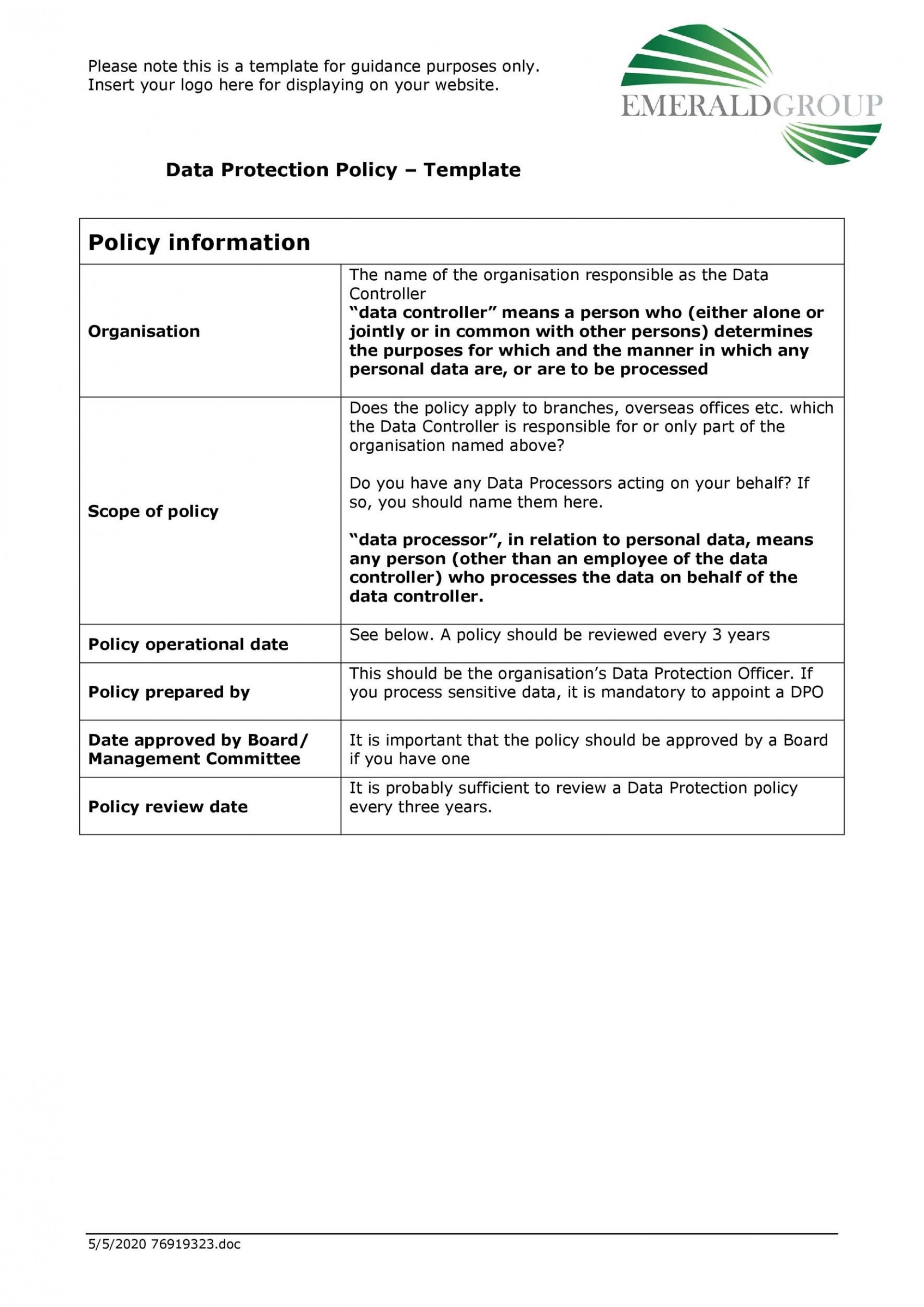 006 Remarkable Data Security Policy Template Design  Example Uk Center Gdpr1920