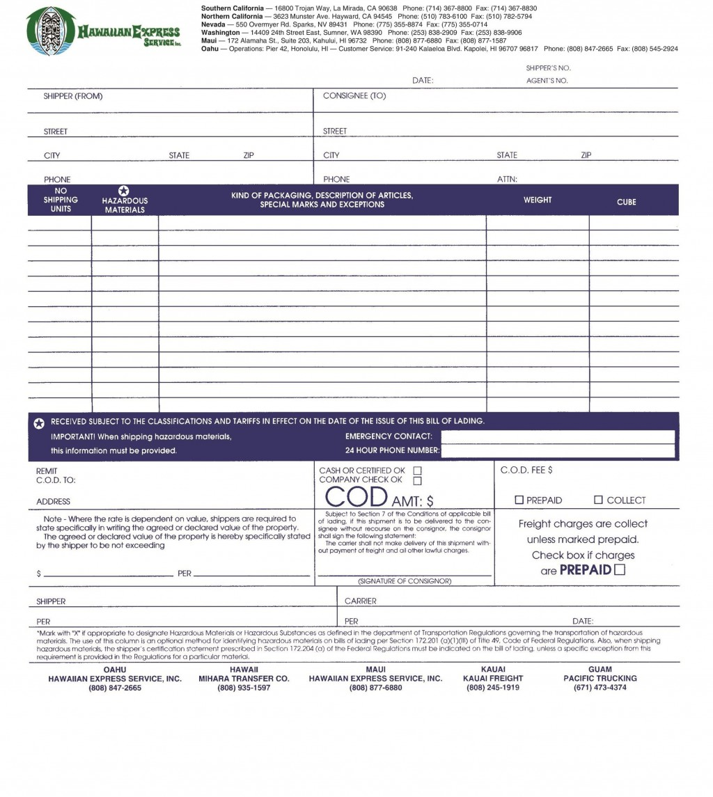 006 Remarkable Free Bill Of Lading Template Inspiration  Download Pdf FormLarge