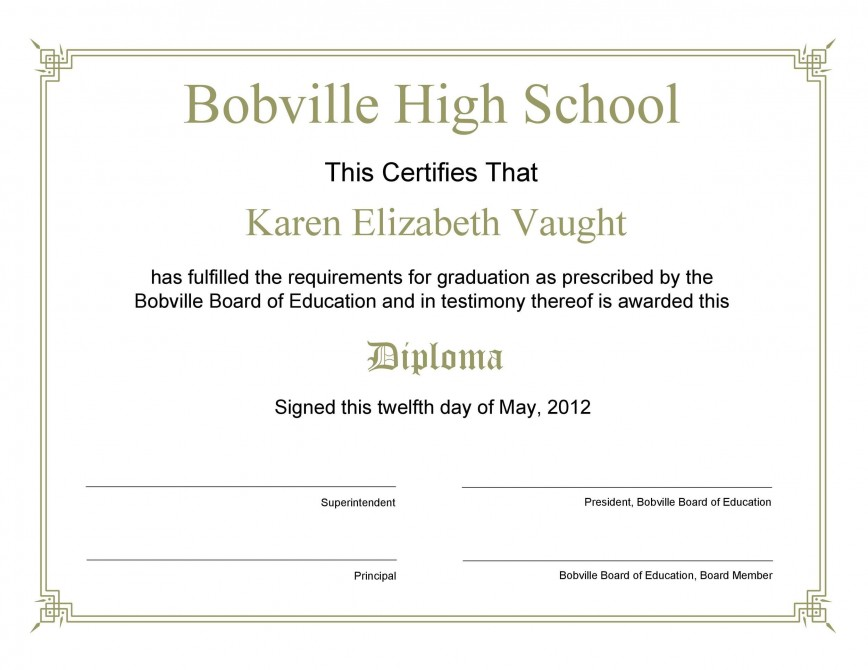 006 Remarkable Free Editable High School Diploma Template Picture  Templates Printable Fillable