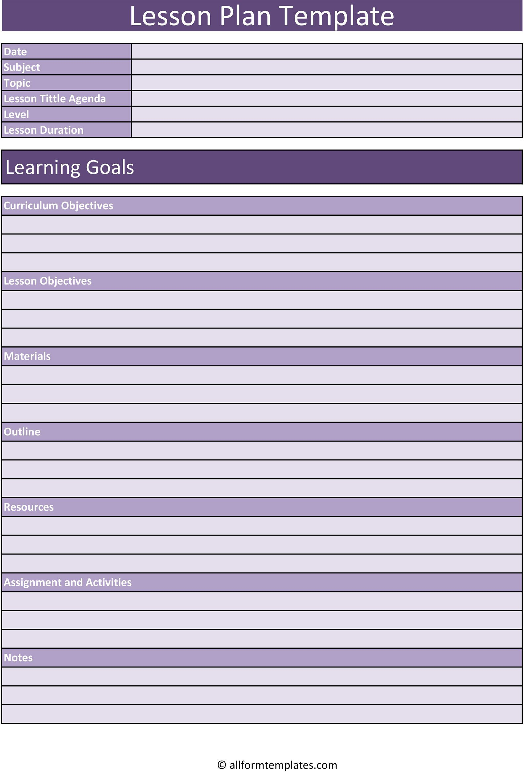 006 Remarkable Free Editable Weekly Lesson Plan Template Pdf Sample  BlankFull