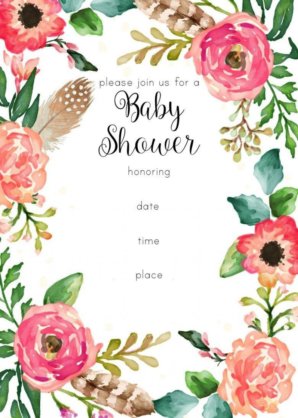 006 Remarkable Free Girl Baby Shower Invitation To Print Picture  Printable TwinLarge