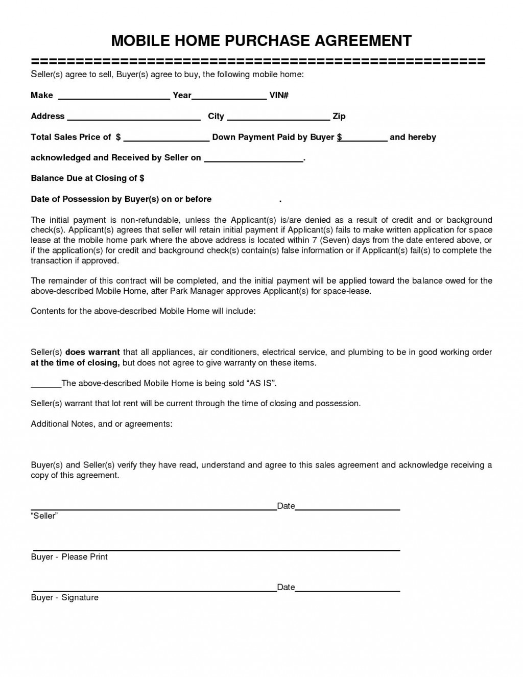 006 Remarkable Free Home Purchase Contract Template Picture Large