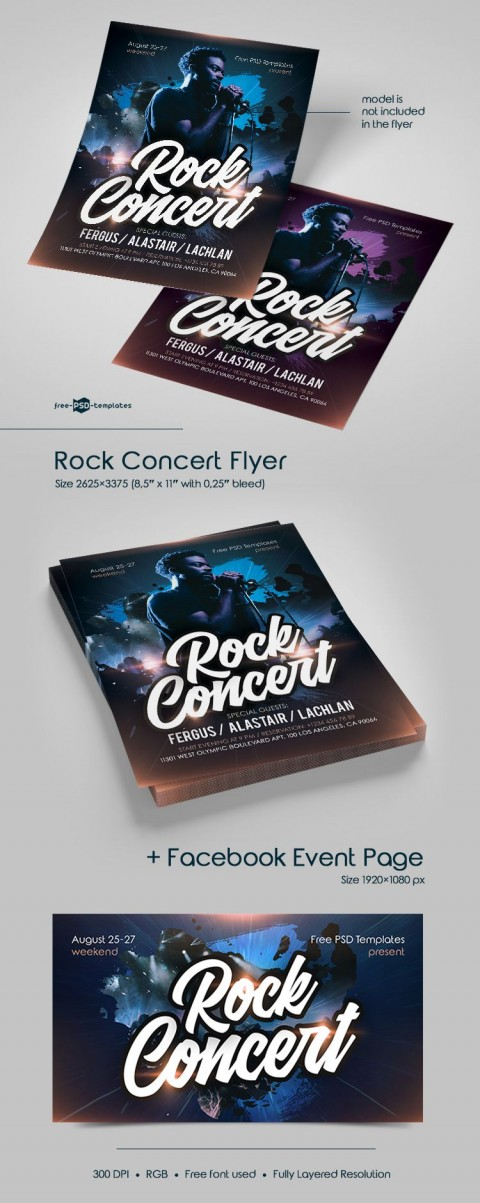 006 Remarkable Free Rock Concert Poster Template Psd Picture 480