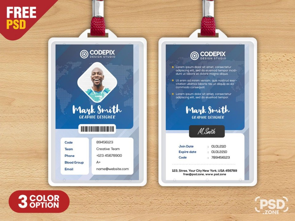 006 Remarkable Id Badge Template Photoshop Highest Quality  Employee960