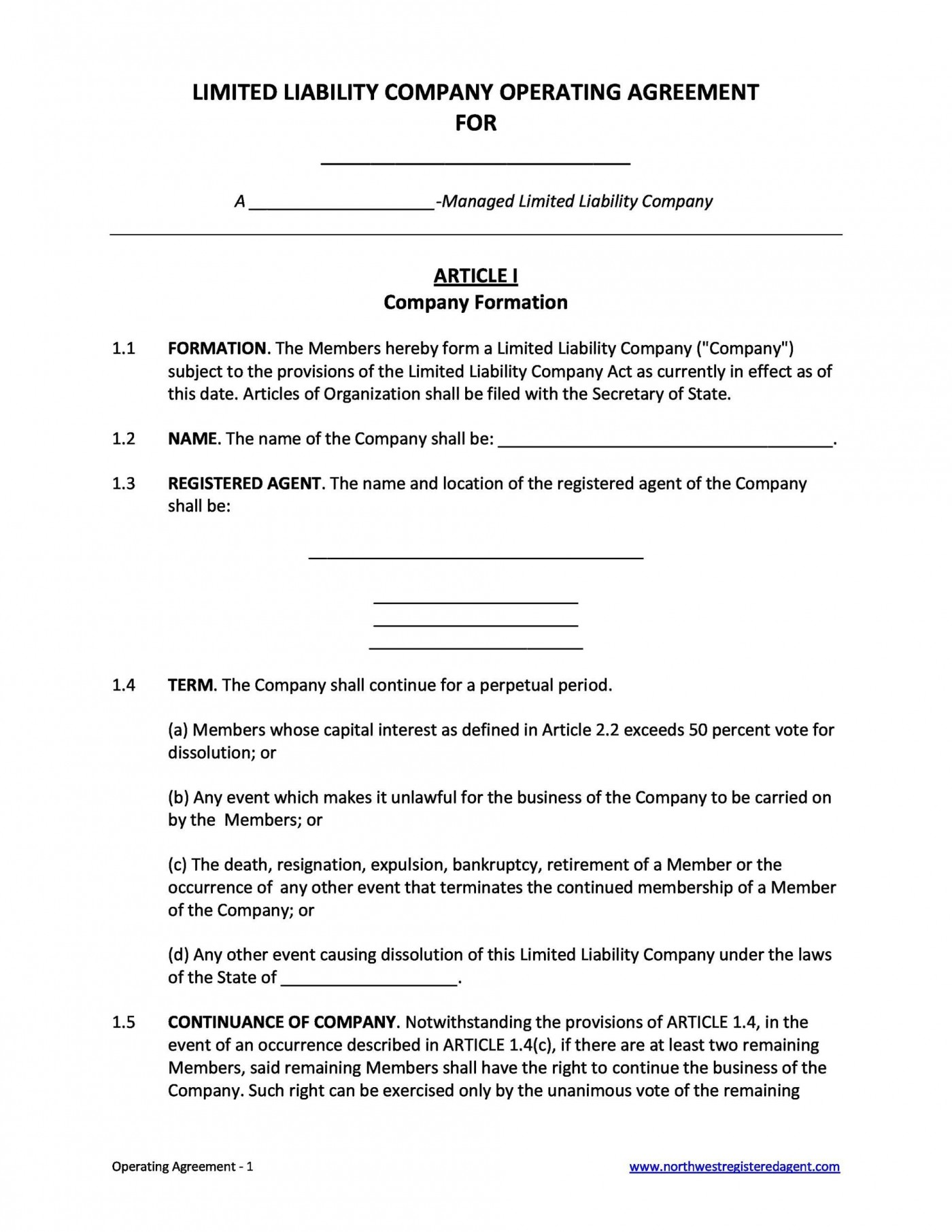 006 Remarkable Operation Agreement Llc Template Concept  Operating Florida Indiana Single Member California1400