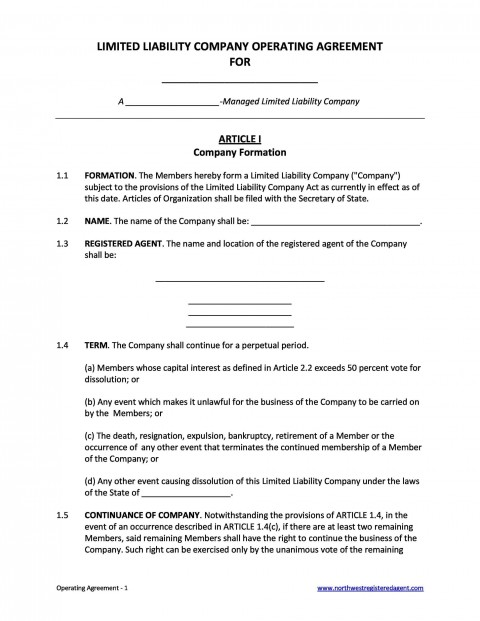 006 Remarkable Operation Agreement Llc Template Concept  Operating Florida Indiana Single Member California480