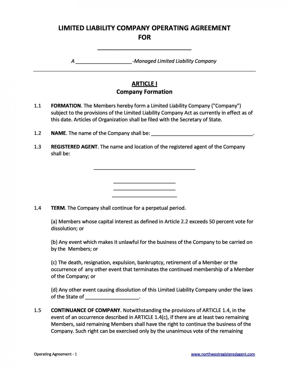 006 Remarkable Operation Agreement Llc Template Concept  Operating Florida Indiana Single Member California960