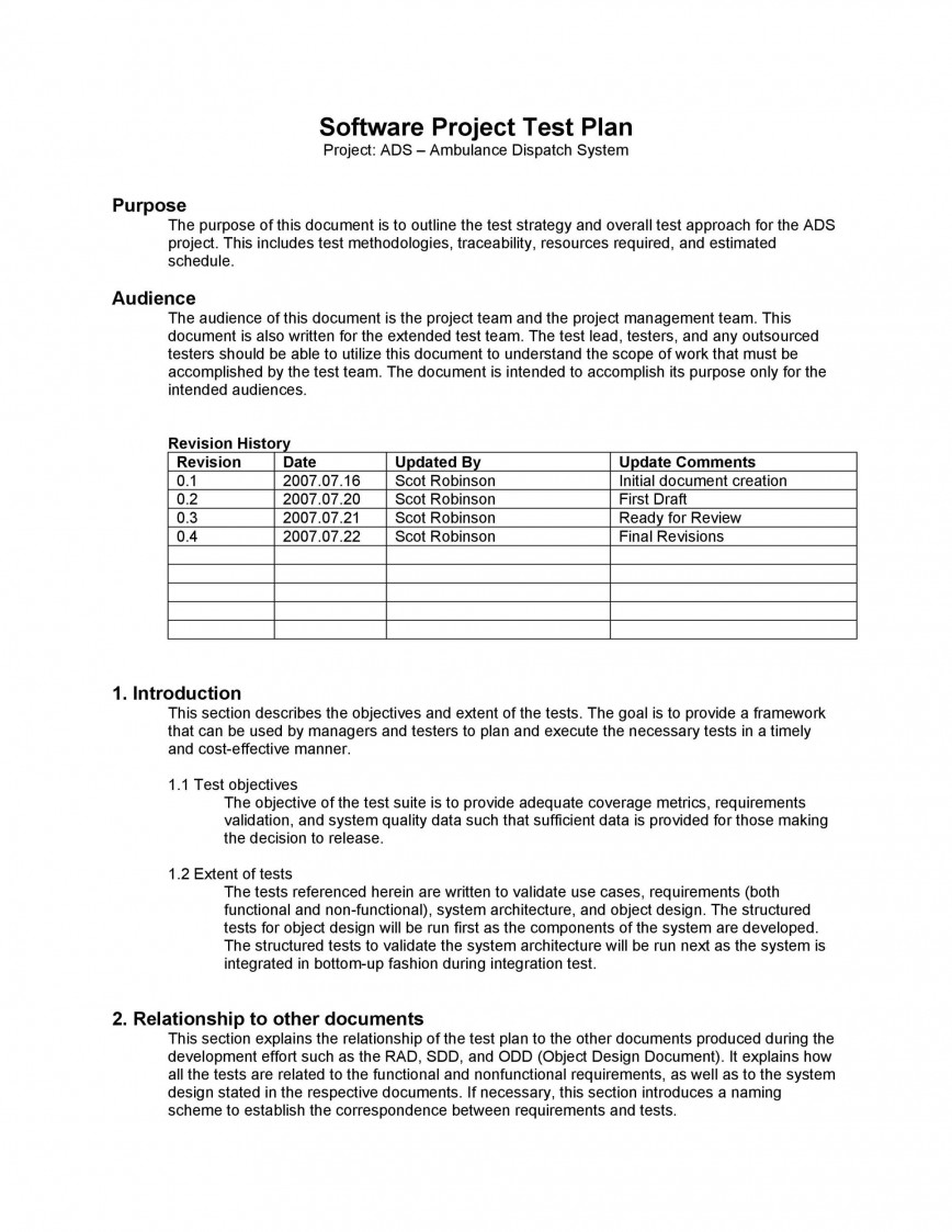 006 Remarkable Software Test Plan Template High Def  Templates