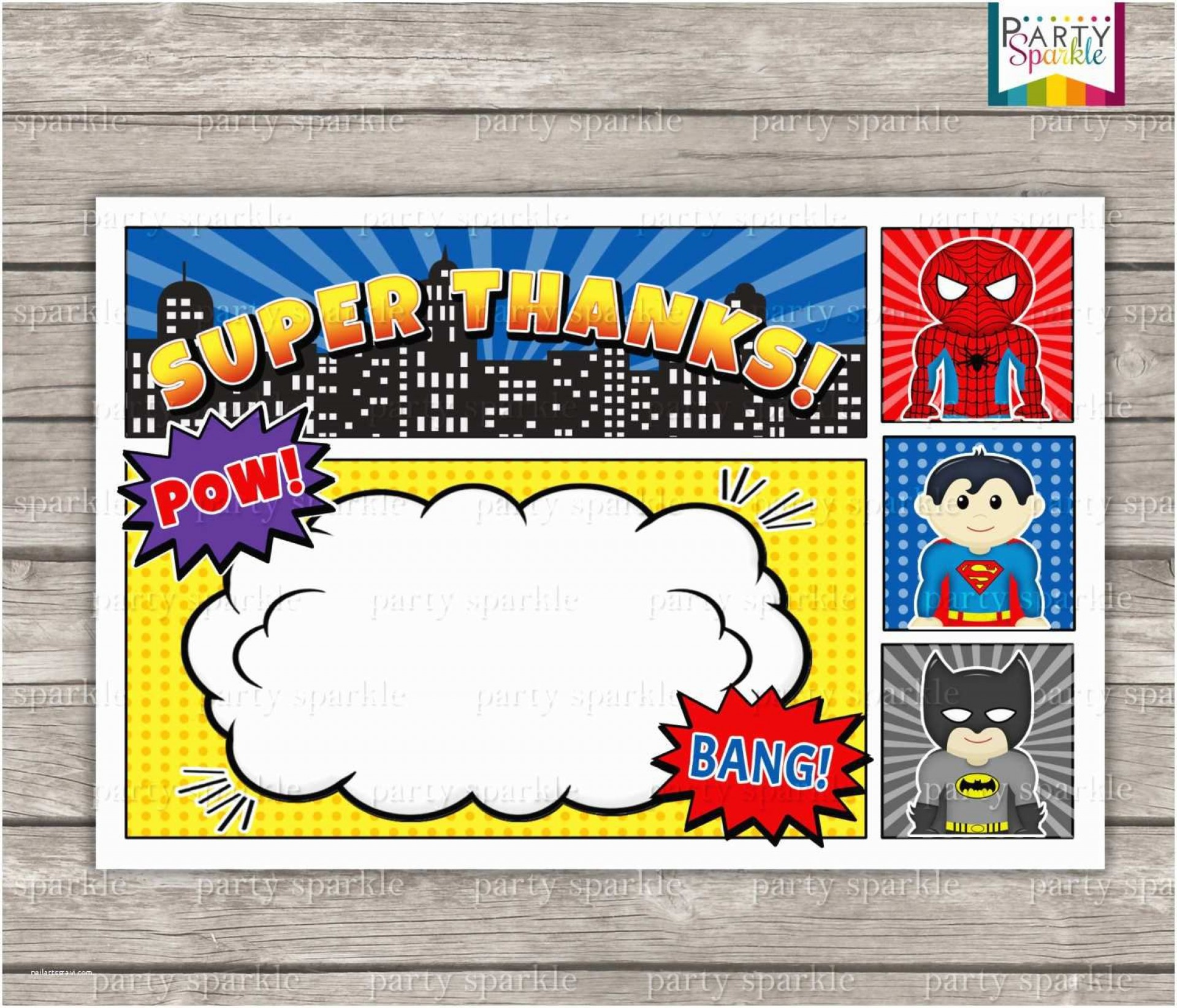 006 Remarkable Superhero Invitation Template Free Picture  Baby Shower Newspaper Birthday Party1920