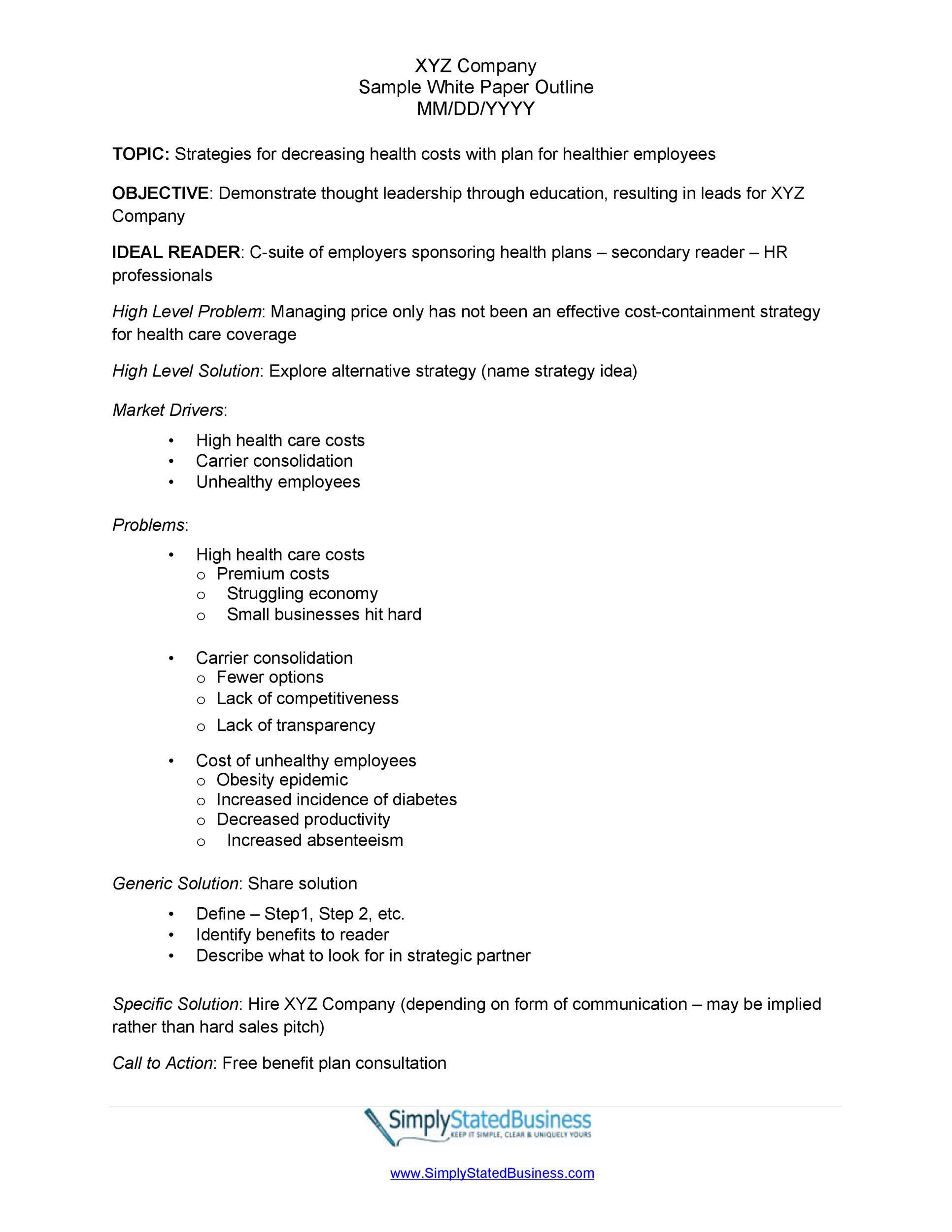 006 Remarkable White Paper Outline Sample Concept Full