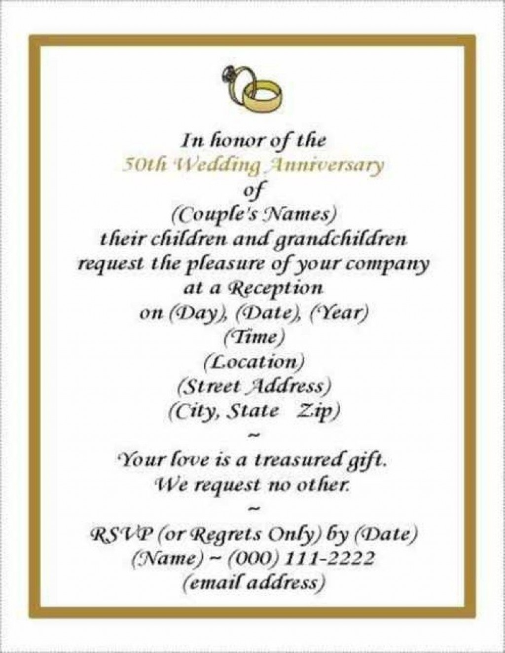 006 Sensational 50th Wedding Anniversary Invitation Template Free Image  Download Golden Microsoft WordLarge