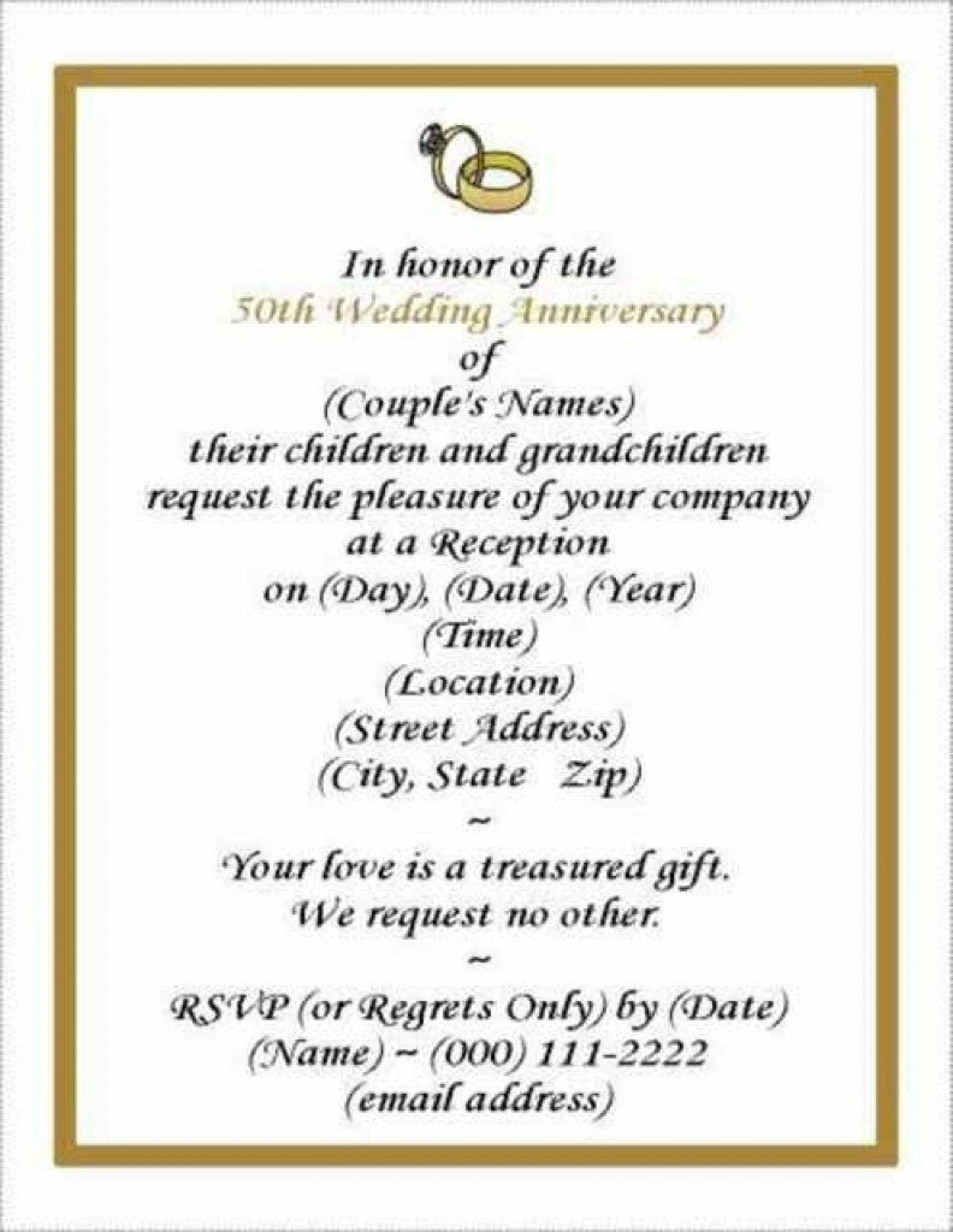 006 Sensational 50th Wedding Anniversary Invitation Template Free Image  Download Golden Microsoft Word1920