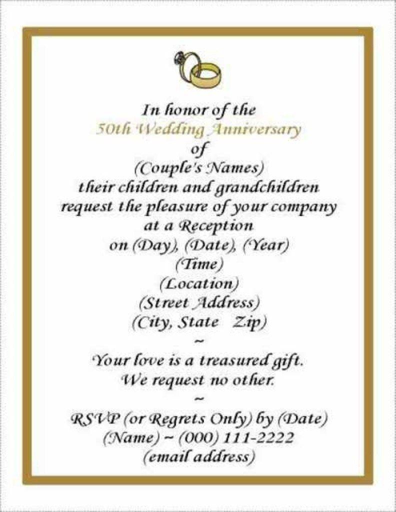 006 Sensational 50th Wedding Anniversary Invitation Template Free Image  Download Golden Microsoft WordFull
