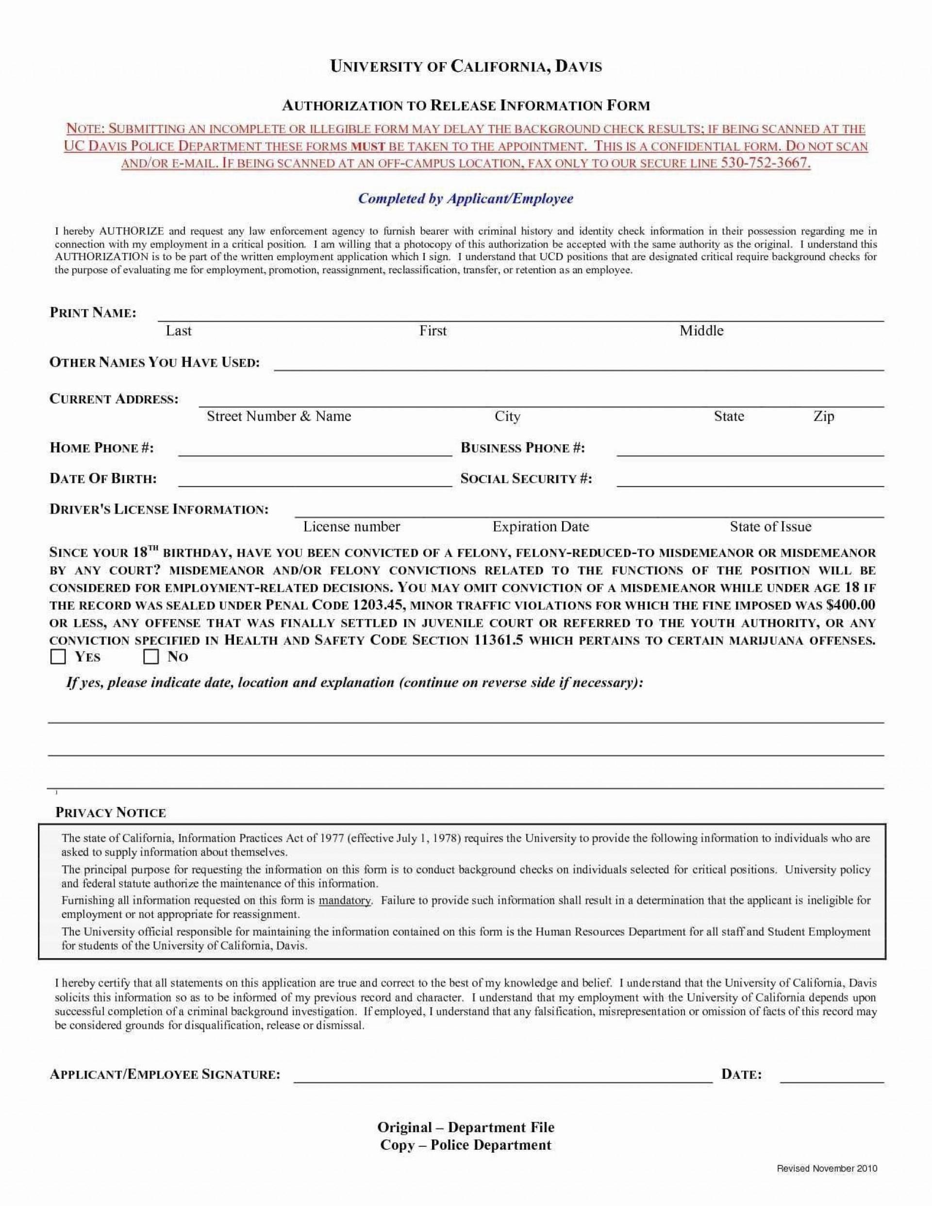 006 Sensational Background Check Form Template Free Concept  Authorization1920