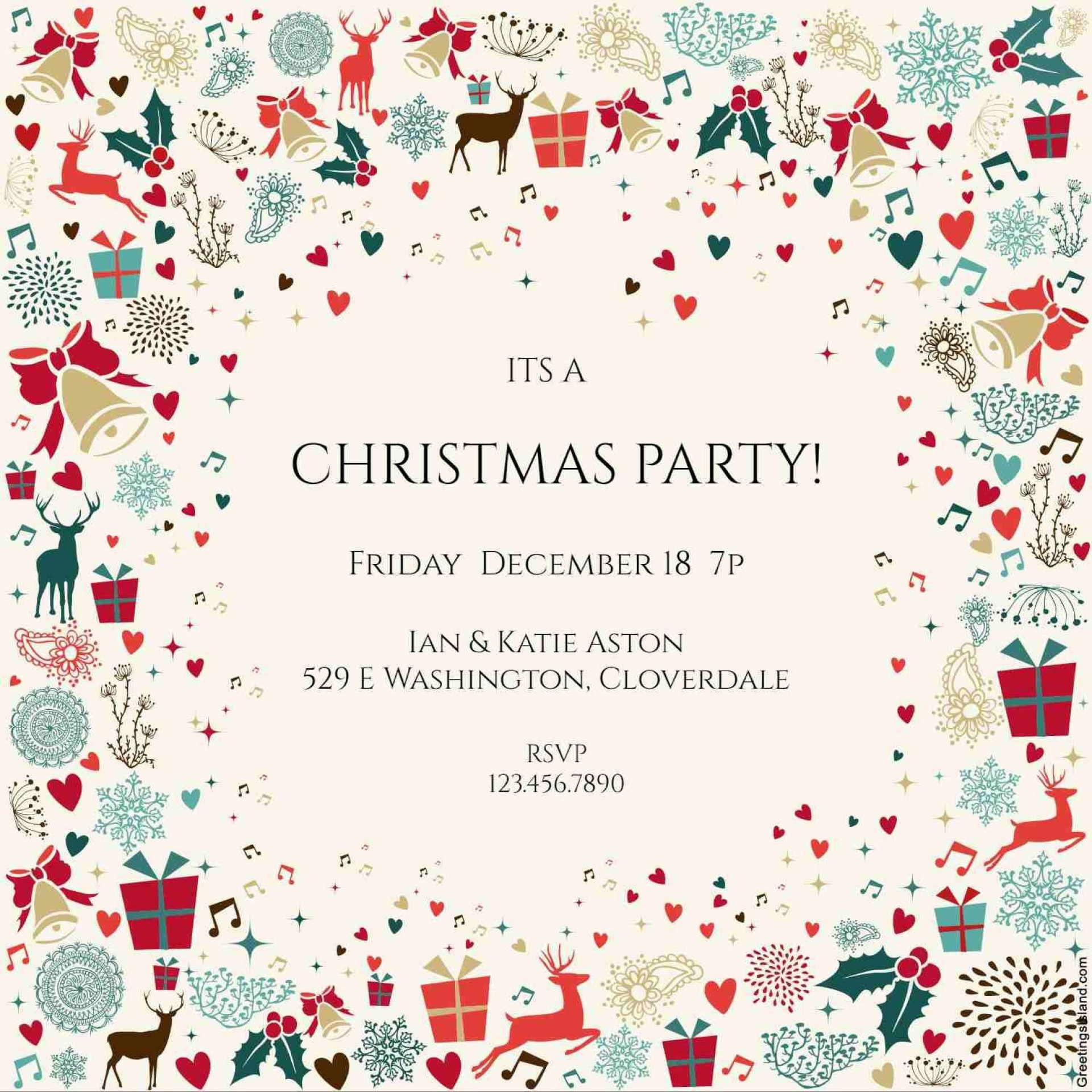 006 Sensational Free Email Holiday Party Invitation Template Concept  Templates Christma1920