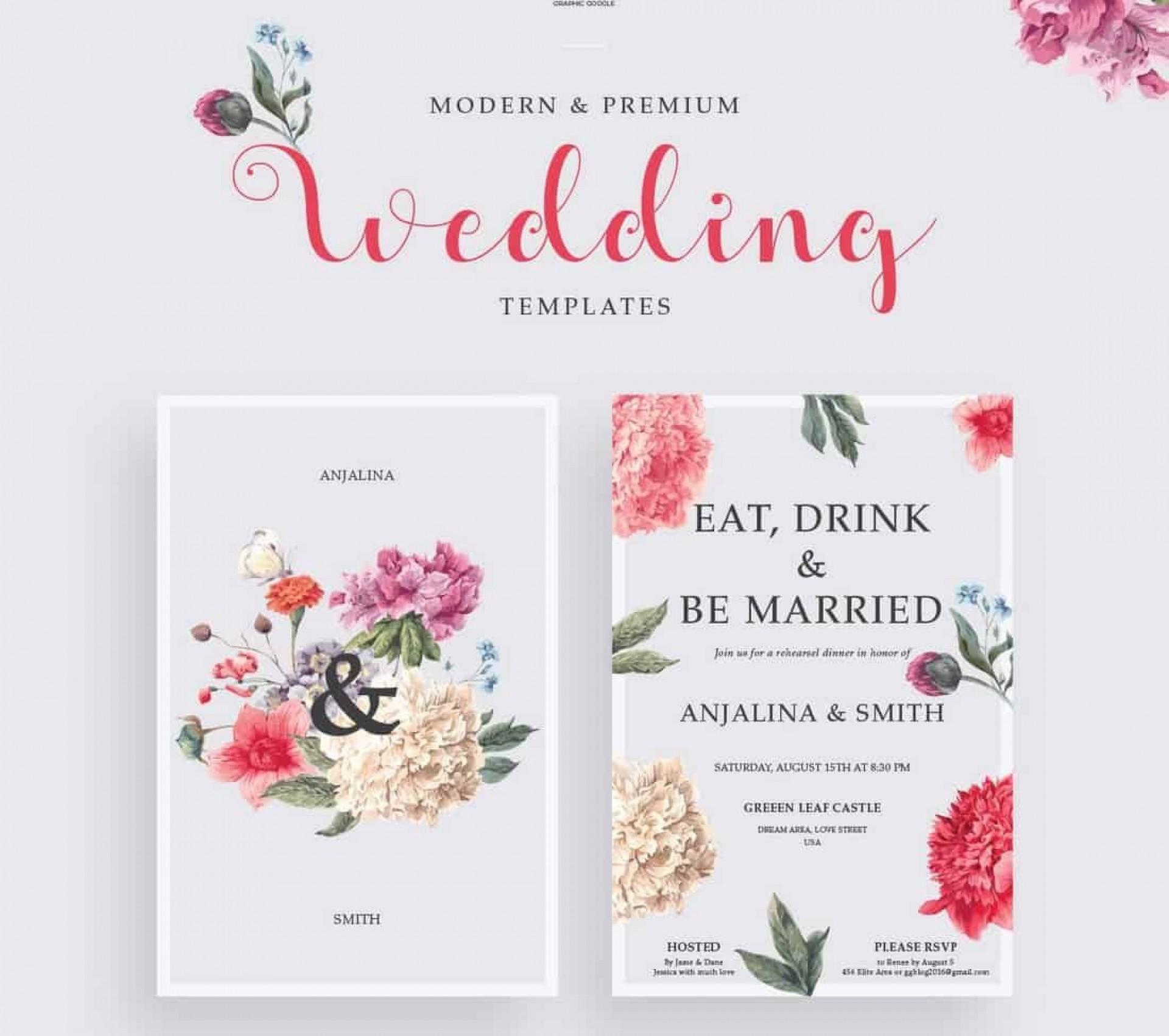006 Sensational Free Wedding Invitation Template For Word 2019 Photo 1920