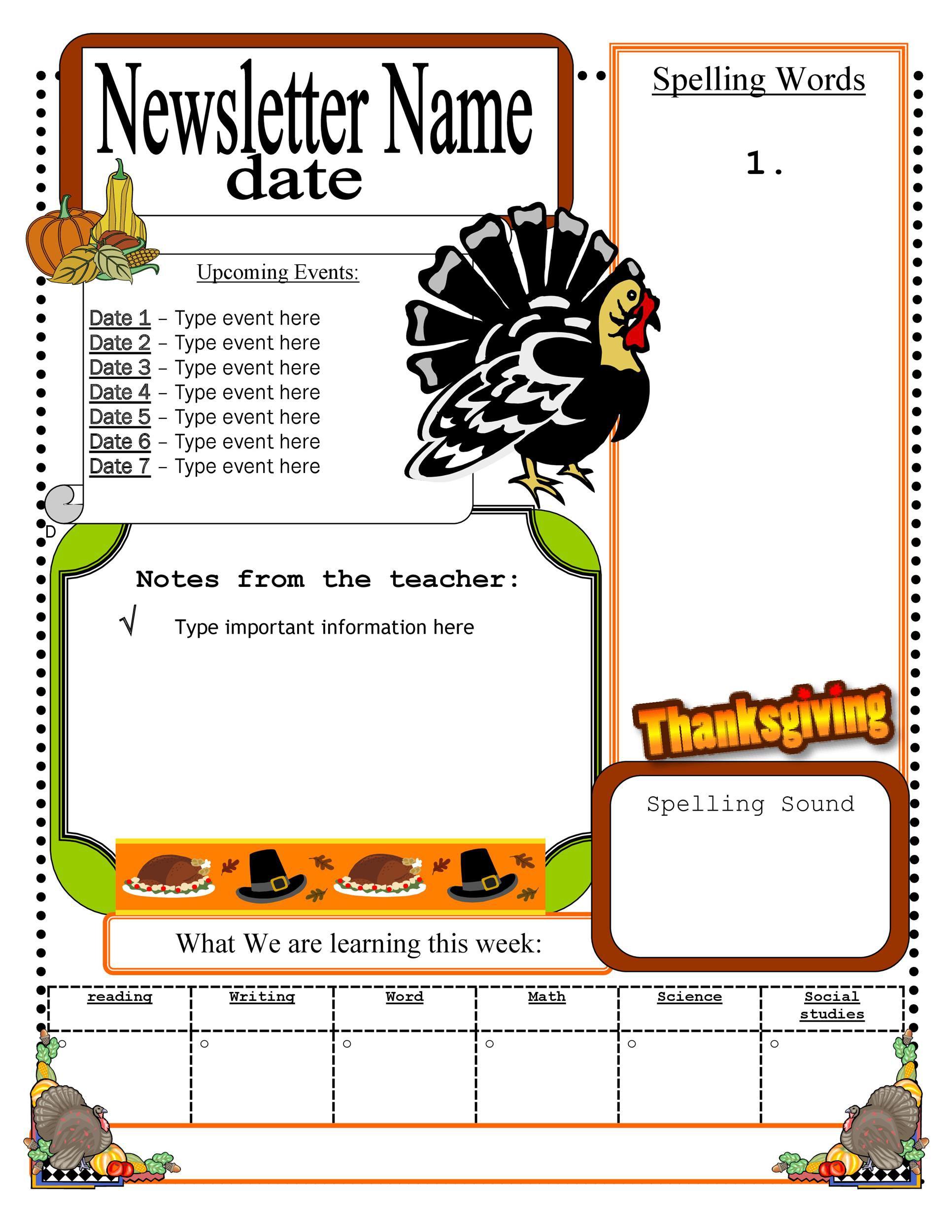 006 Sensational Newsletter Template For Teacher High Resolution  Teachers To Parent Printable Free SchoolFull
