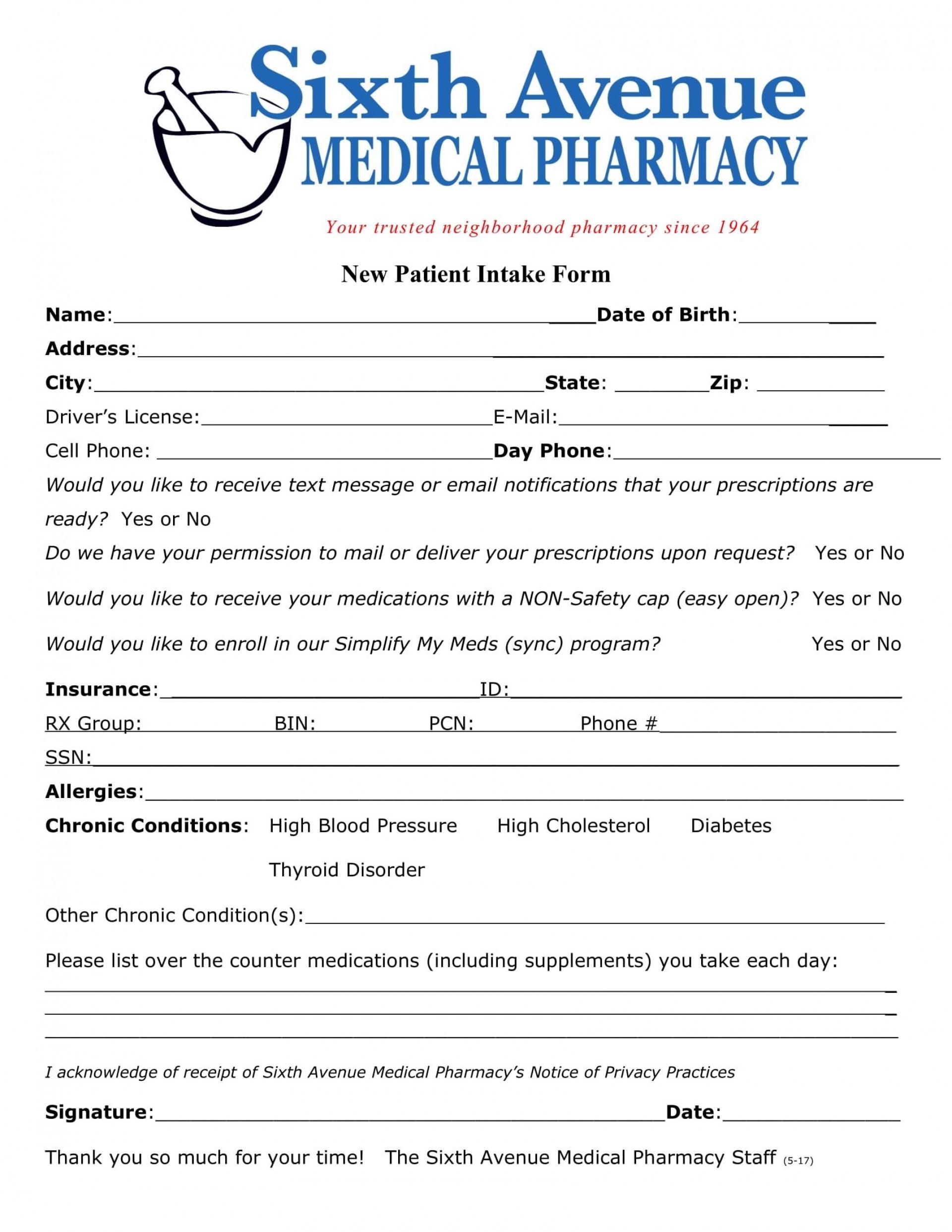 006 Sensational Patient Intake Form Template Photo  Word Client Excel Pdf1920