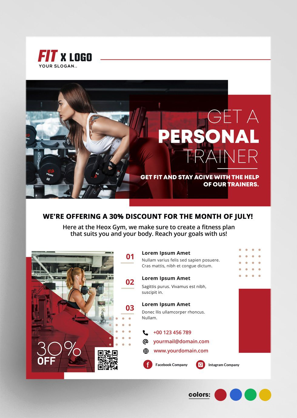 006 Sensational Personal Trainer Flyer Template Photo  Word PsdFull