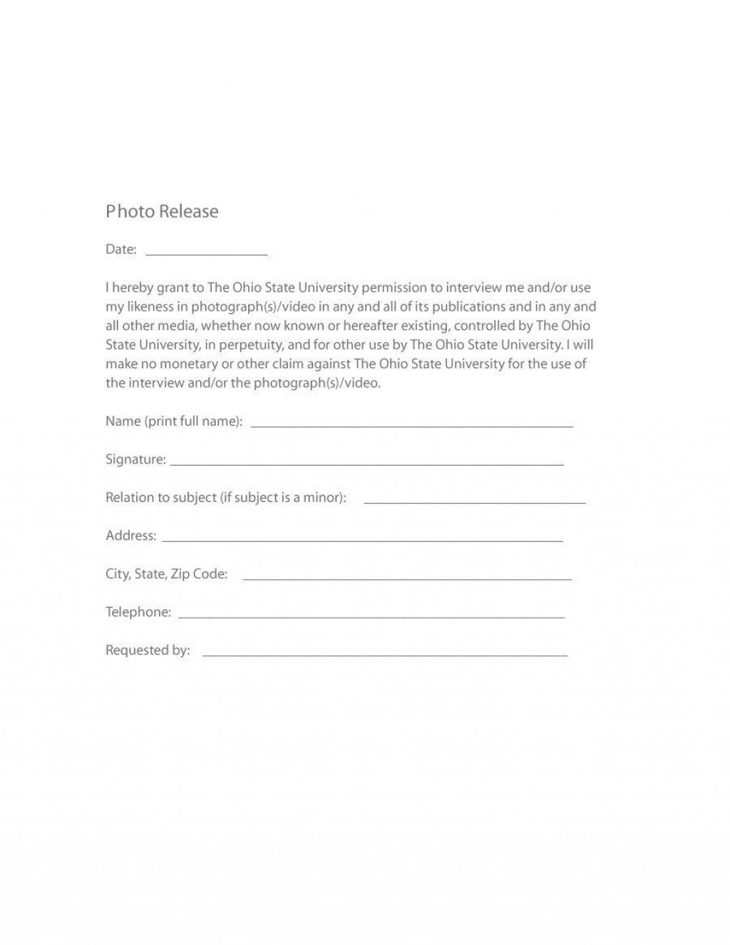 006 Sensational Photo Release Form Template Free Design  Print Order And Video CanadaLarge