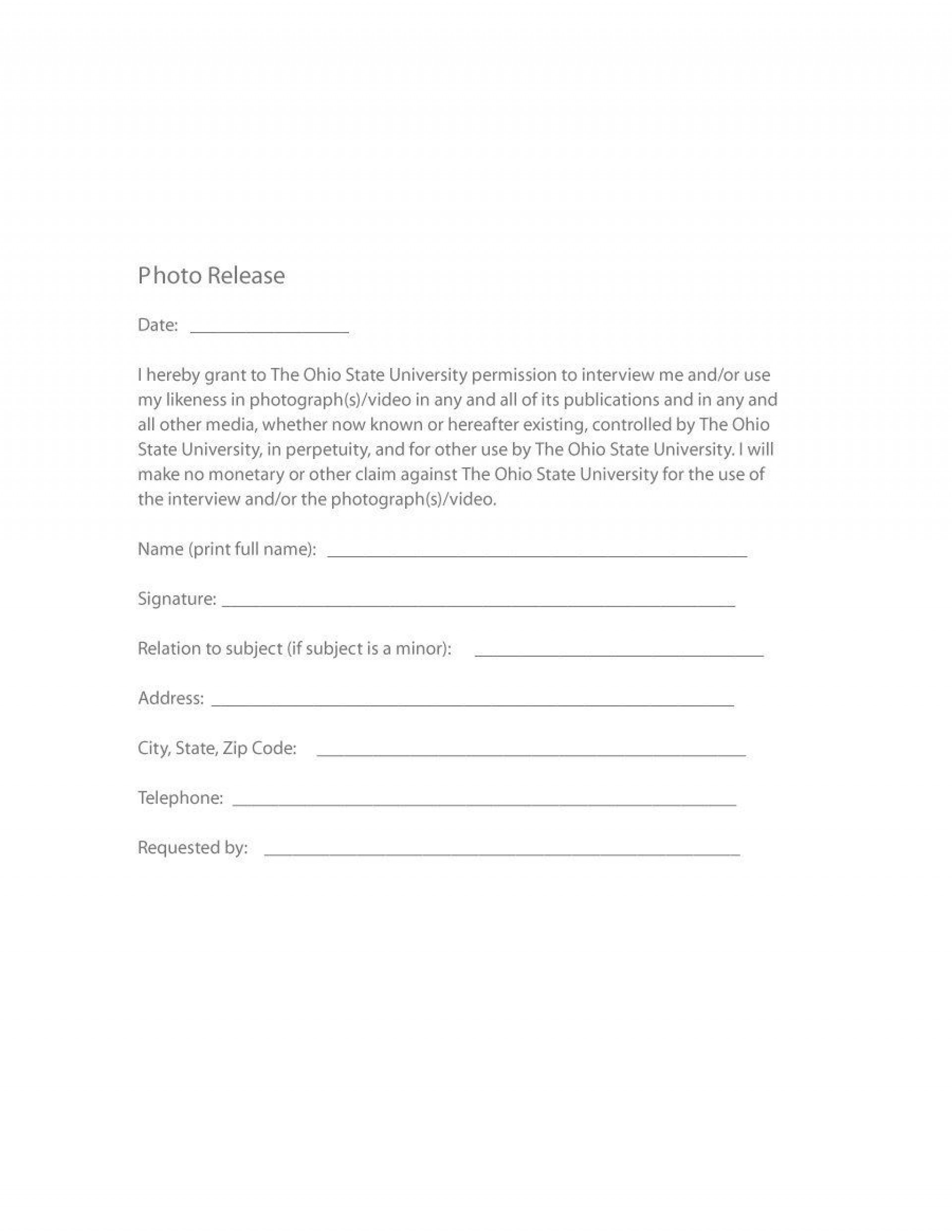 006 Sensational Photo Release Form Template Free Design  Print Order And Video Canada1920