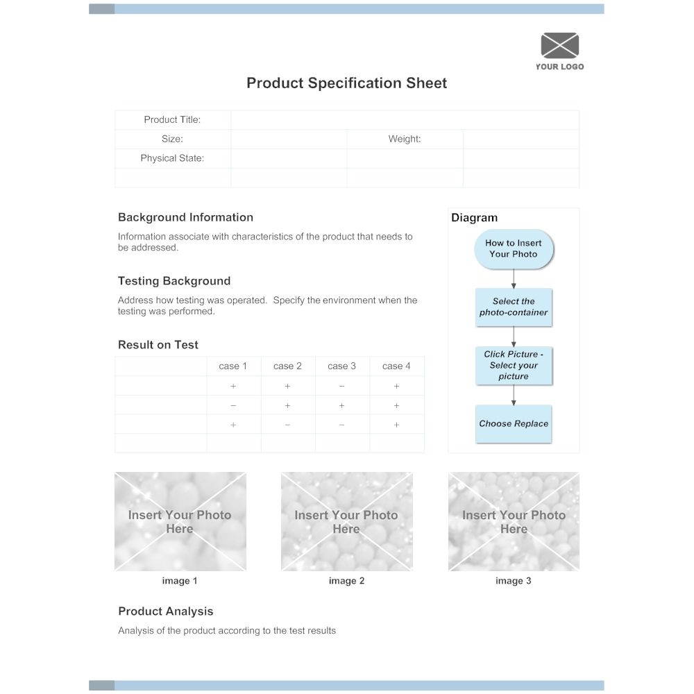 006 Sensational Product Data Sheet Template Picture  Spec Word SampleFull