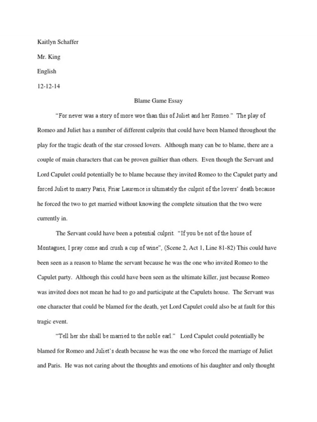006 Sensational Romeo And Juliet Essay Sample  Who I Responsible For Juliet' Death Introduction Hook Question PdfLarge