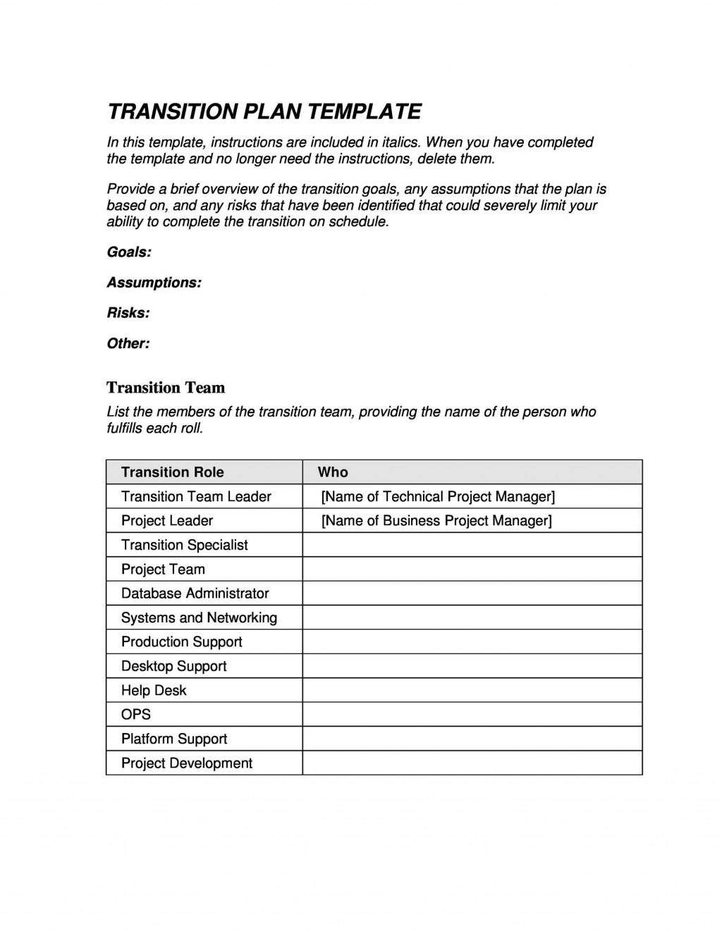 006 Sensational Software Project Transition Plan Sample Highest Quality  Template ExcelLarge