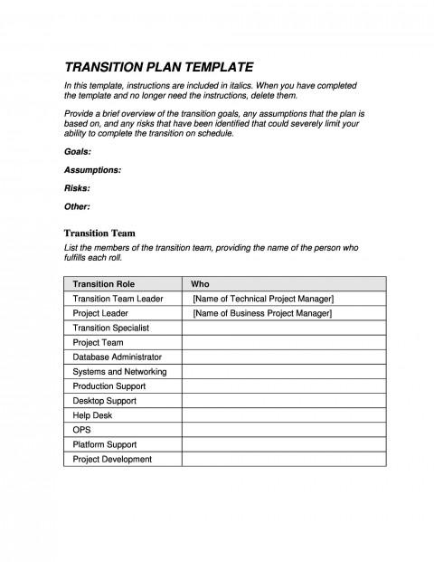 006 Sensational Software Project Transition Plan Sample Highest Quality  Template Excel480