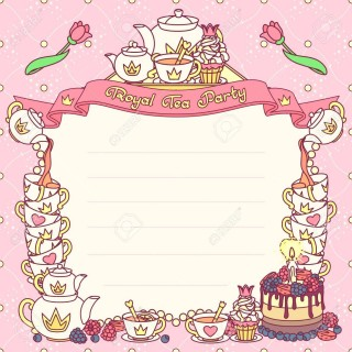 006 Sensational Tea Party Invitation Template Picture  Wording Vintage Free Sample320