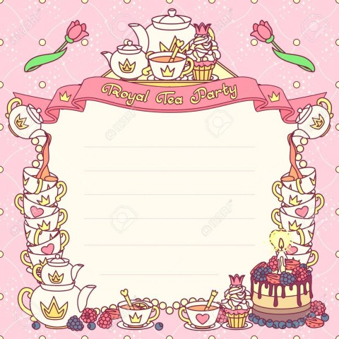 006 Sensational Tea Party Invitation Template Picture  Vintage Free Editable Card Pdf480