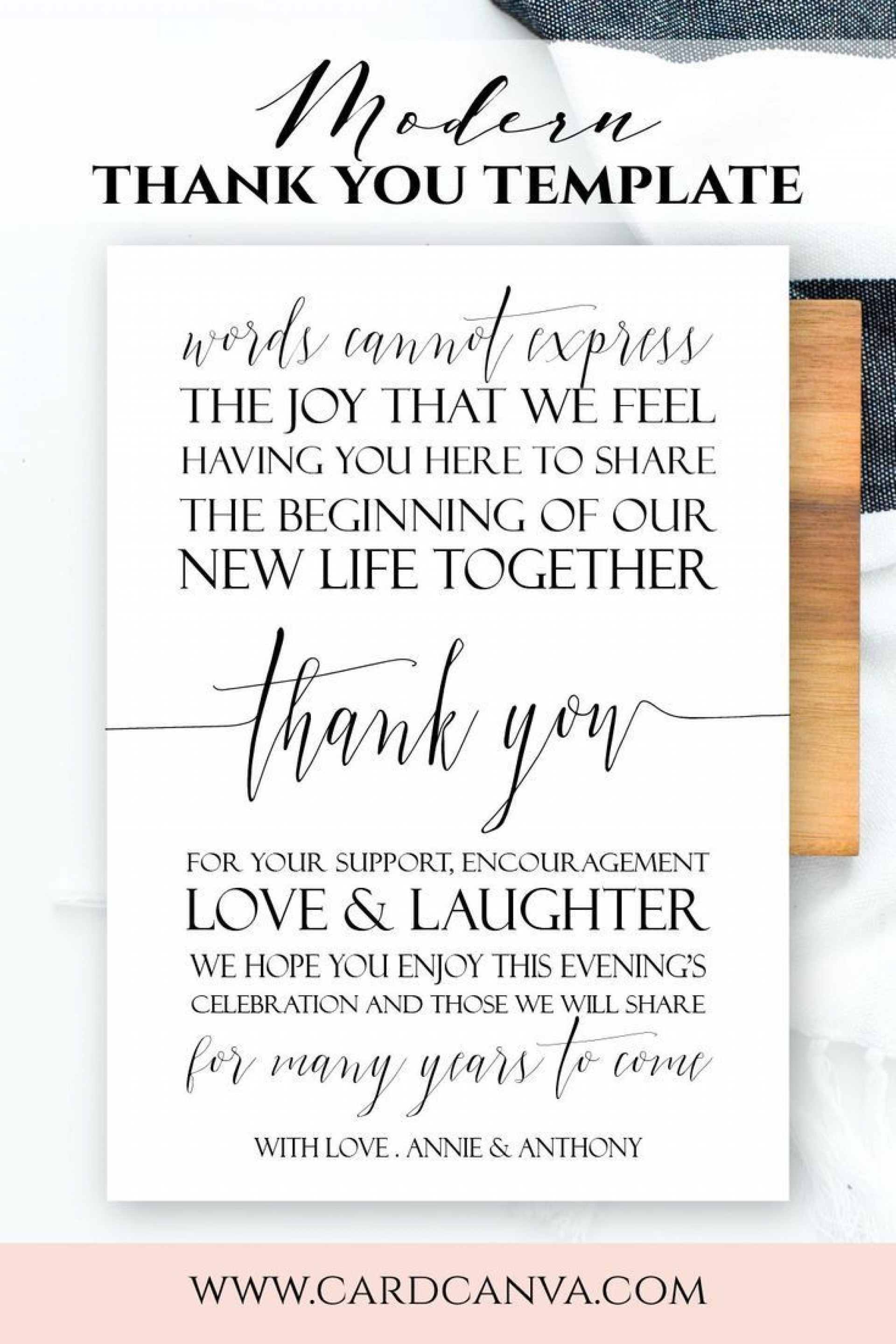 006 Sensational Thank You Note For Wedding Guest Template Inspiration  Card1920