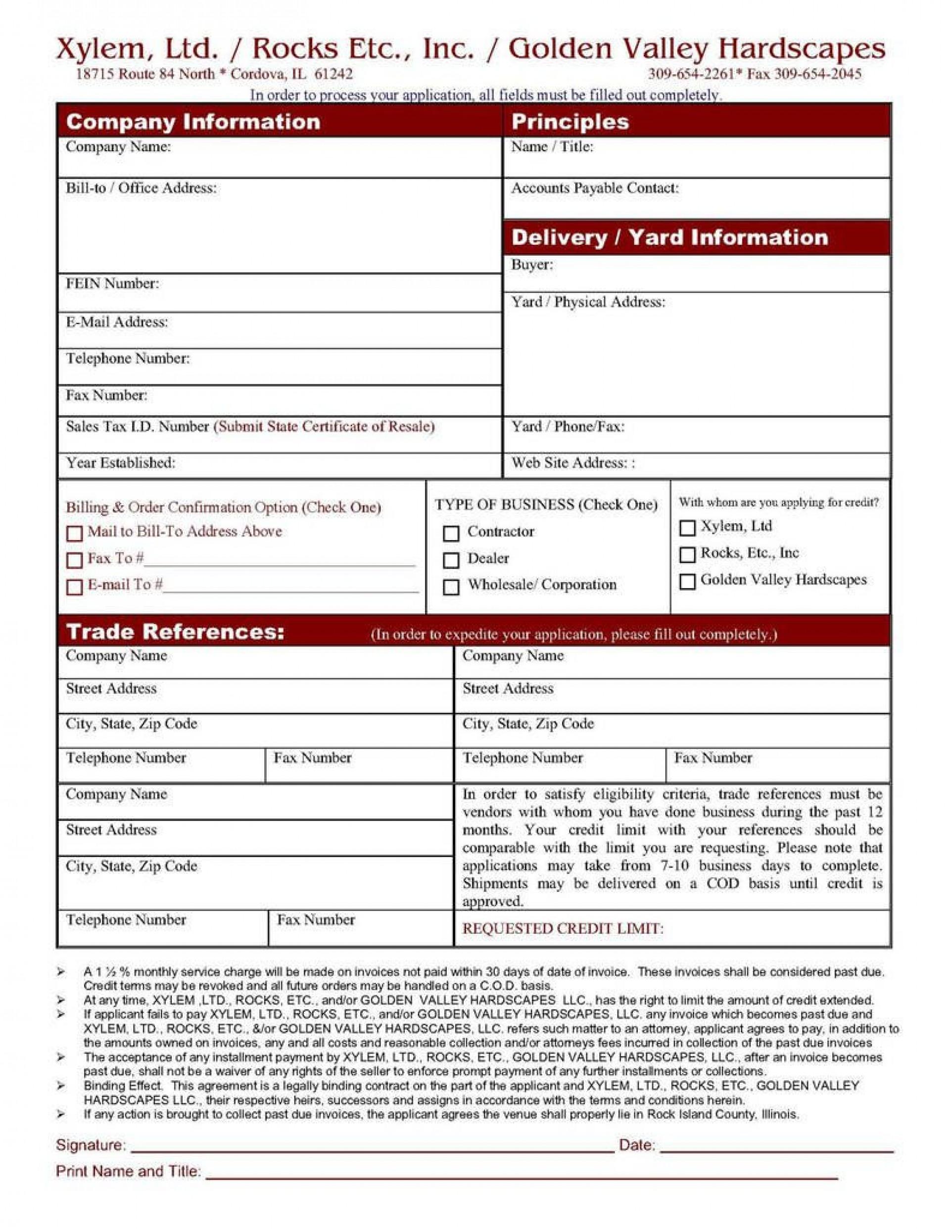006 Shocking Busines Credit Application Template Excel Design  Form1920