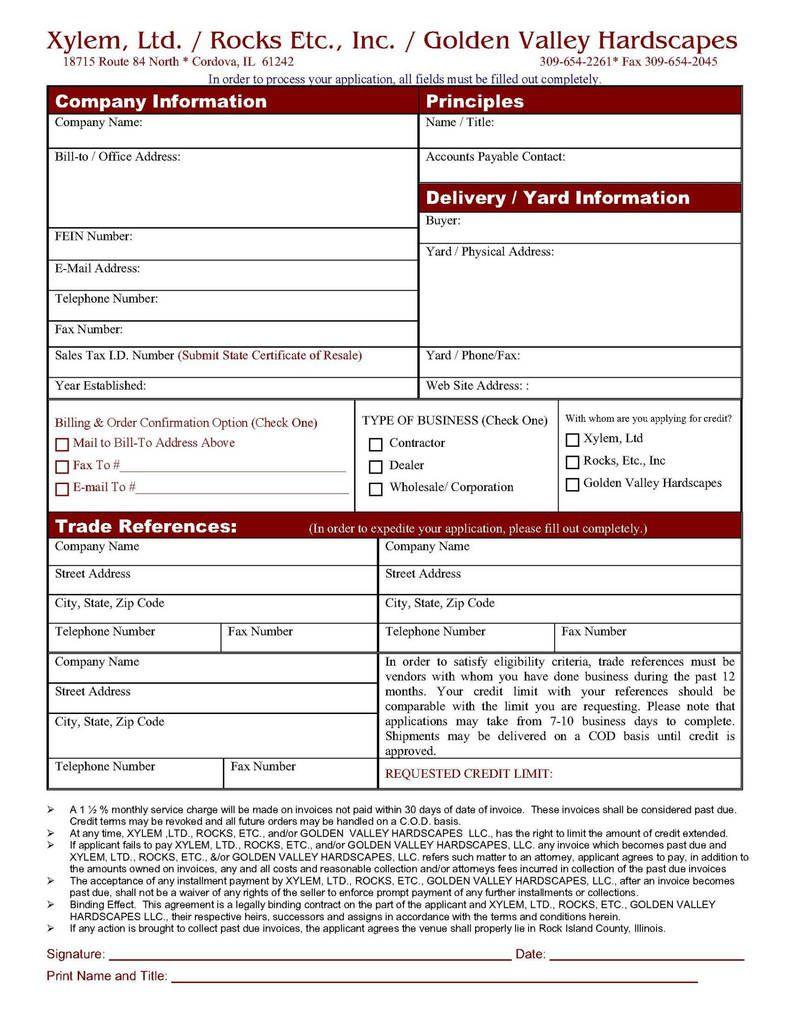 006 Shocking Busines Credit Application Template Excel Design  FormFull