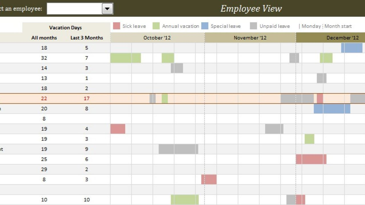 006 Shocking Employee Calendar Template Excel Picture  Staff Leave Vacation PlannerFull